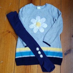 Daisy Flower Cotton Sweater Dress w Cotton Tights
